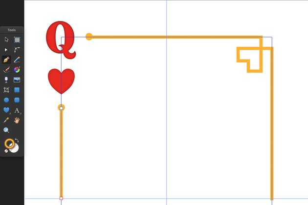 Draw playing card border line using pen tool P and guides