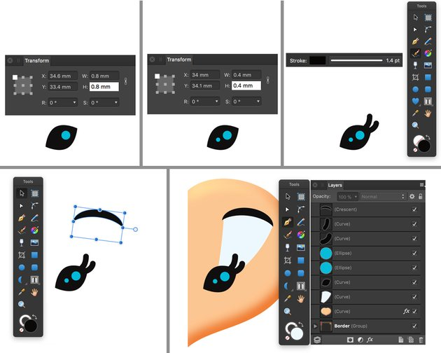 draw ellipse glares lashes using vector brush tool and crecent tool for eyebrow and pen tool for eyeshadow move back one layer