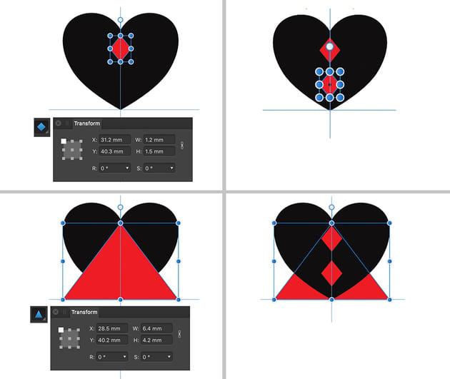 diamond Tool duplicate shape triangle tool center option command drag then move to back