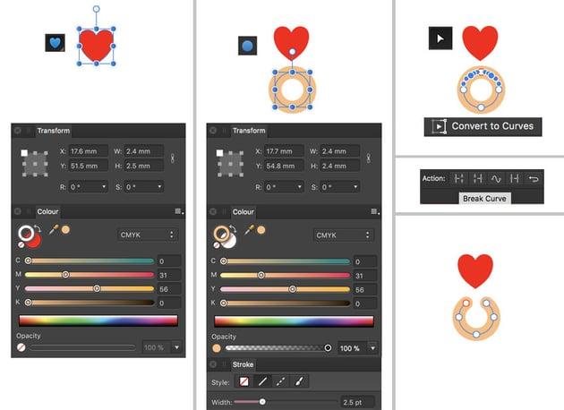 heart shape ellipse tool node tool convert to curves break curve action