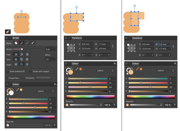 Pen tool and rectangle tool to draw fingers and thumb