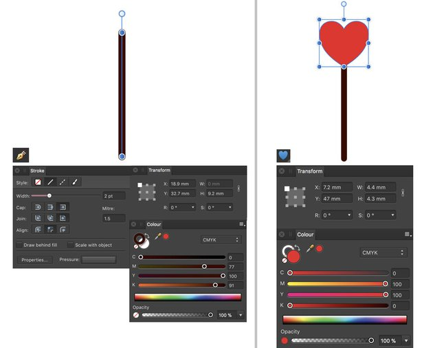 Create Sceptre pen stroke and heart tool
