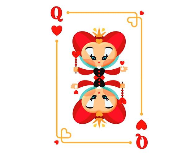 final design queen of hearts playing card design Miss chatz