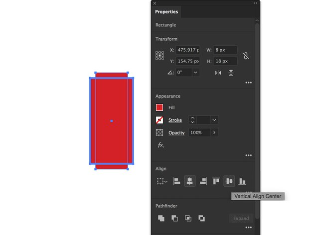 rectangle tool properties panel horizontal and vertical center alignment
