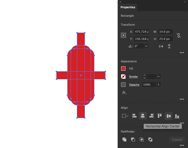 draw with rectangle tool and horizontal vertical center align