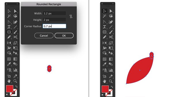 rounded rectangle tool width height corner radius Selection Tool