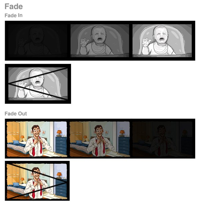 storyboard fade in  Fade Out  black white