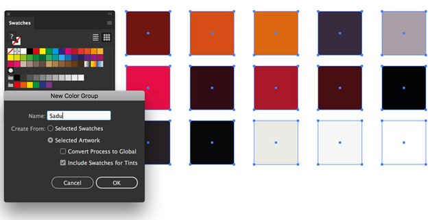 new color group create swatches panel with selected artwork