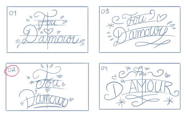 natural cursive hand ettering sketch  thumbnails curves composition
