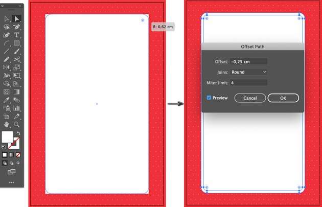 use direct selection tool drag live corner widgets object path offset joins round