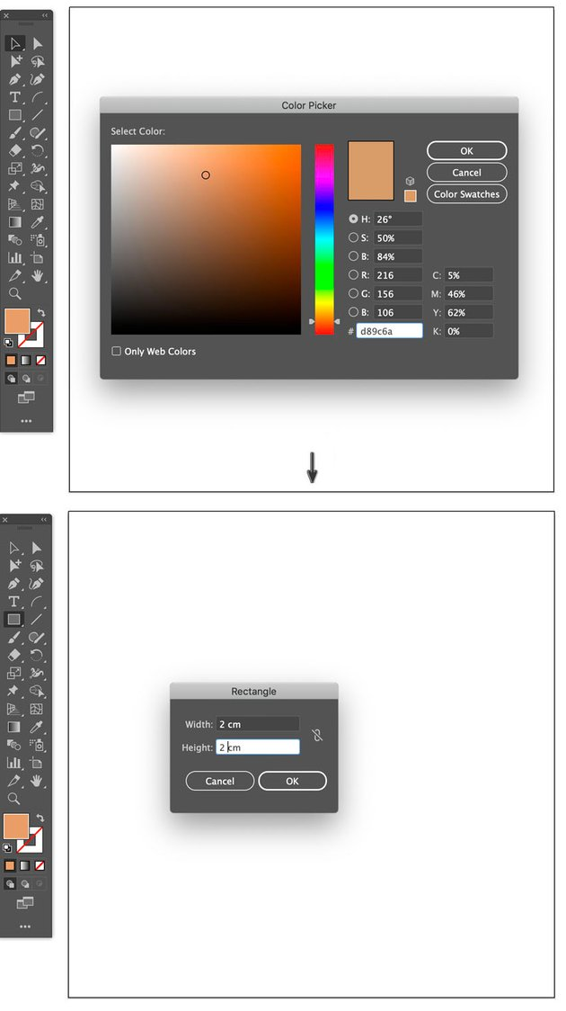 set up basic pattern brush background block color and size