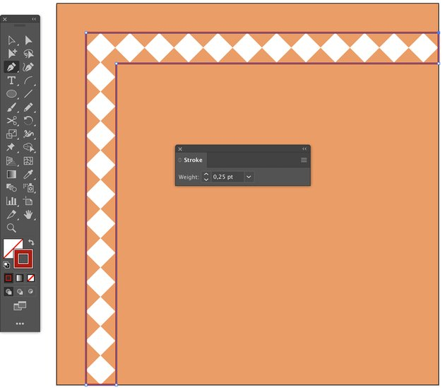 How to Use Pen tool P to create border around diamond lining for islamic art pattern