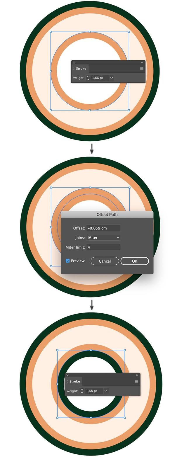 object path offset circles to create intertwine islamic circle pattern