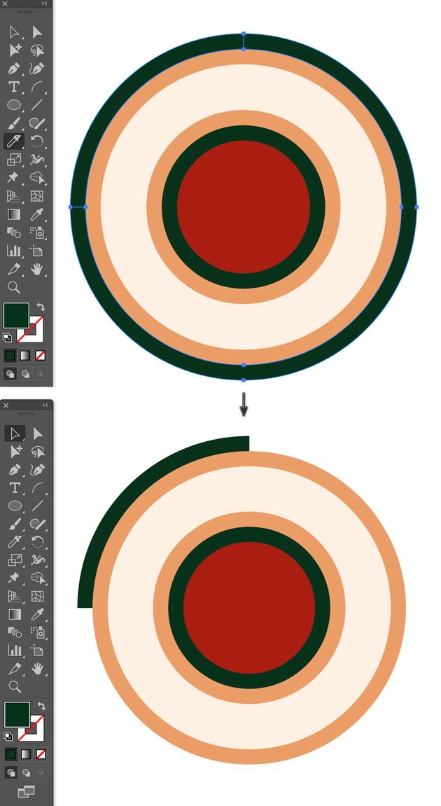 How to use the Knife tool to cut straight line to cut segments in shapes