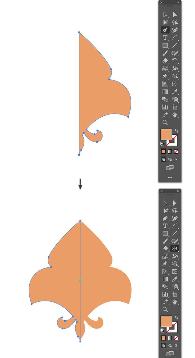 create fleur de lis flower using Pen tool and reflect tool to mirror
