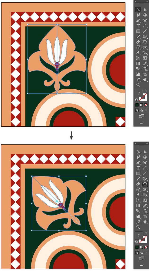 Fleur De Lis Rotate position on corner segment islamic pattern brush