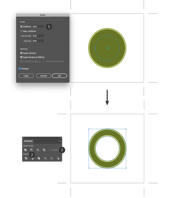 Paste in Front Circle and Scale Tool Uniform Minus Front to create beer label design