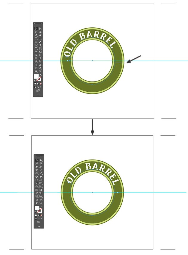 use selection tool to drag handle text to center position adobe illustrator beer label