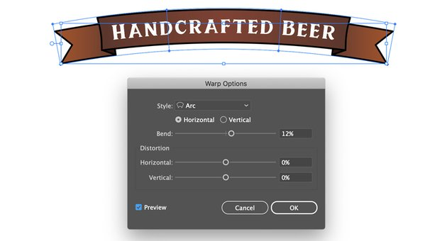 object envelope distort make with warp arc and bend degrees beer label banner design