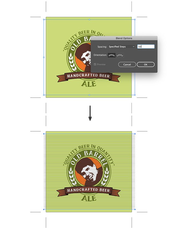 object blend option space specified steps to lines and send back beer label custom design