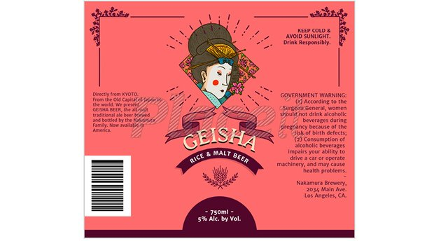 geisha oriental beer label design maker placeit template