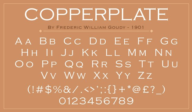 Copperplate typeface font preview specimen of alphabet symbols and numerals