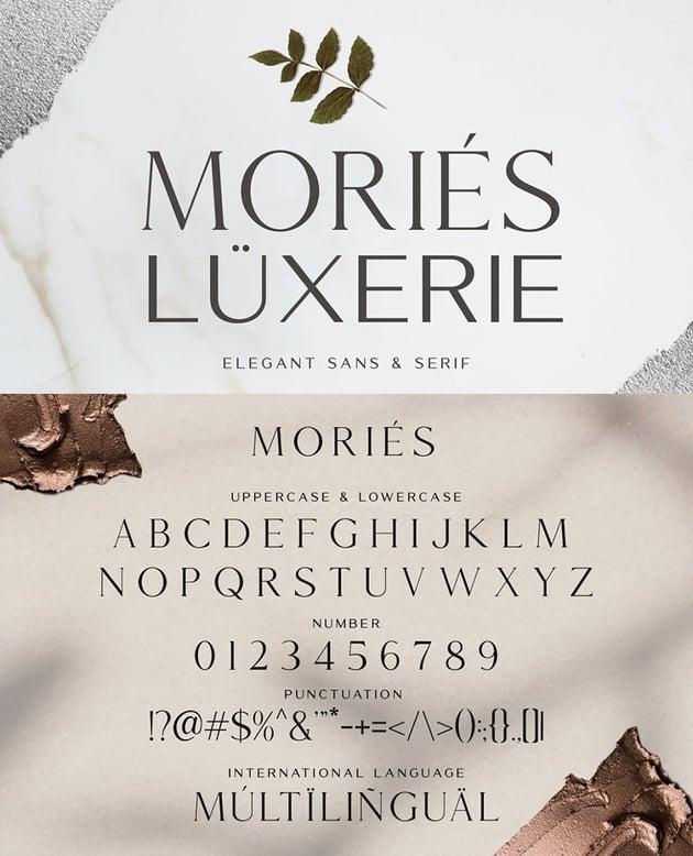 Mories Luxerie Elegant Display Sans Serif font minimalist web font