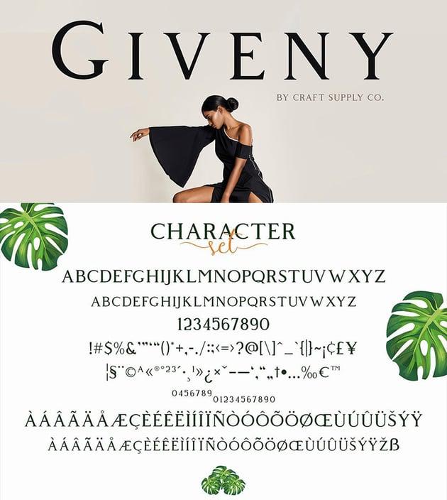 Giveny Classy Serif Font transitional serifs OTF