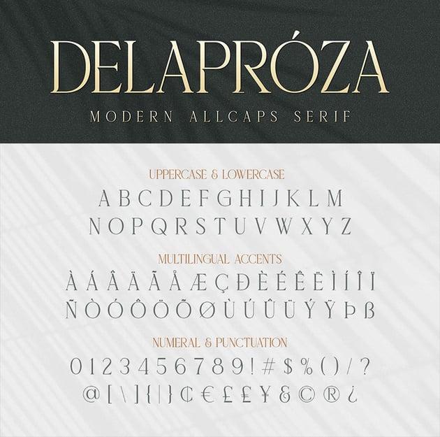 Delaproza Modern Serif font  standard glyphs accent
