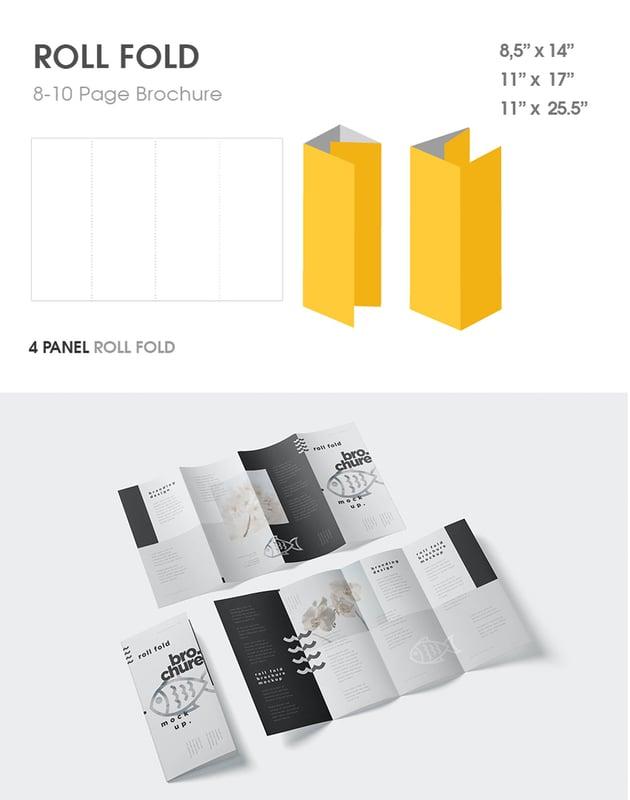 roll fold brochure mockup design