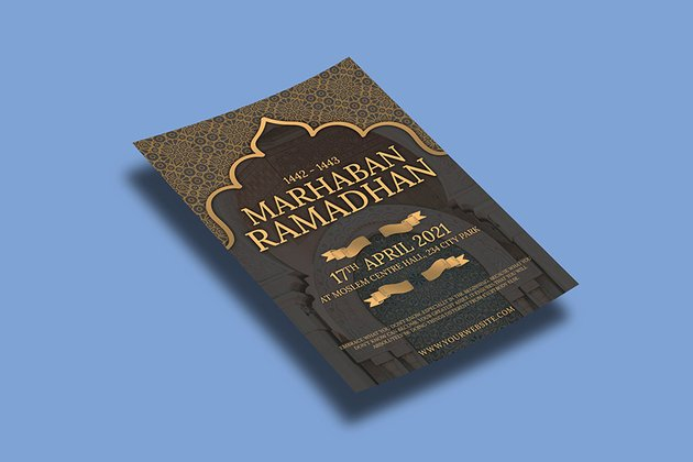 marhaban ramadan event flyer template design which is print ready and psd format available on envato elements
