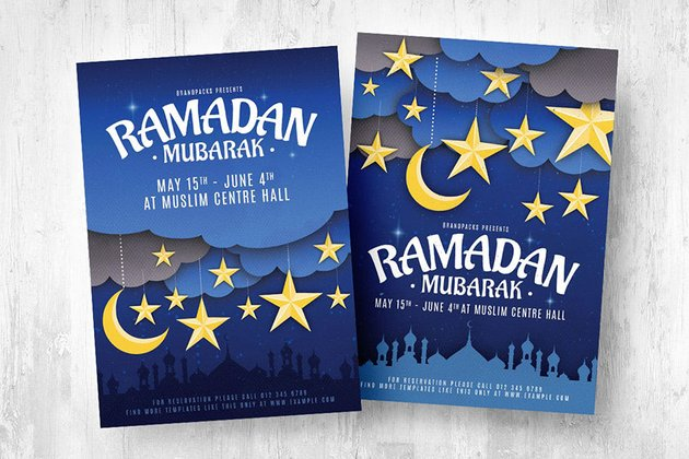 A Ramadan Mubarak flyer template suitable for children theme or young audience