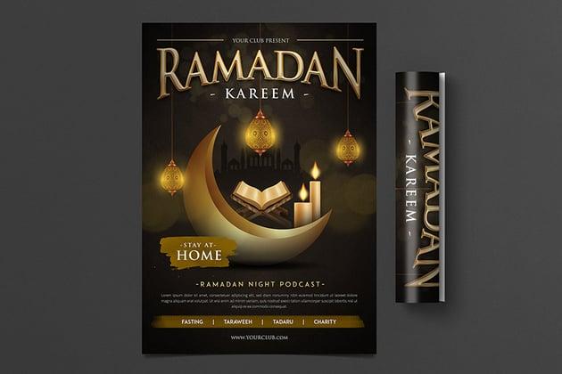 ramadan kareem flyer twith Moon Crescent design perfect for Ramadan promotions