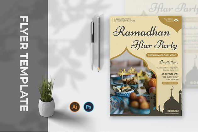 A ramadhan iftar party flyer template available for download on envato elements