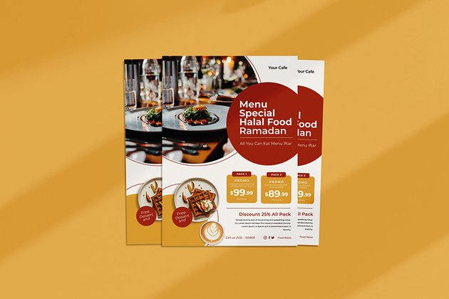 A menu iftar flyer template design for marketing promotions buffets and restaurant offers