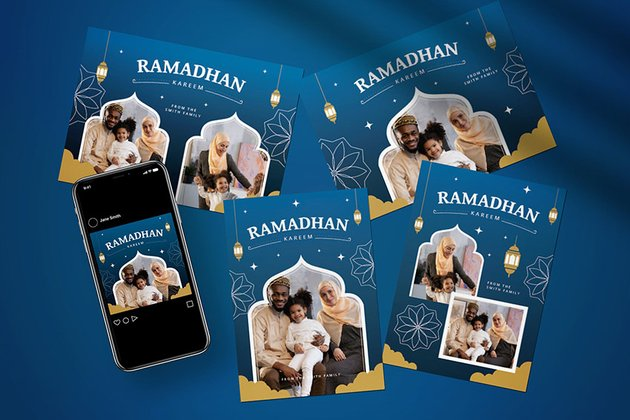 A Ramadan Greeting card design template for family or social media posts