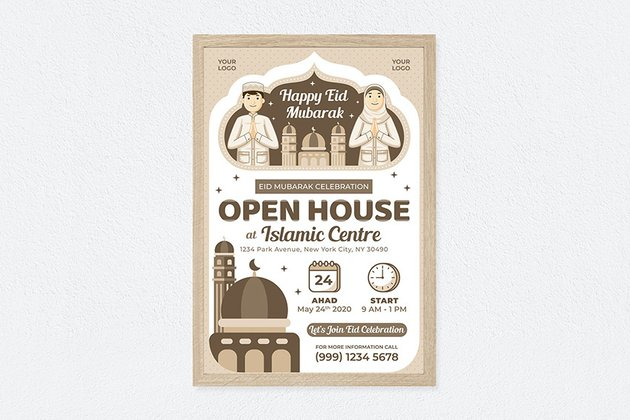 A Happy eid mubarak poster design templatewith flat illustration artwork style from Enavto elements