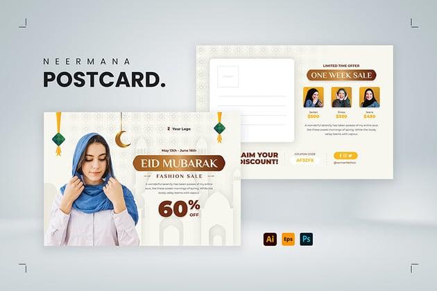 An eid Mubarak fashion sale postcard template ready for print