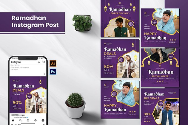 A ramadan sale instagram post templates set on envato Elements in PSD and AI  file formats