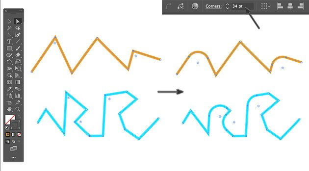 How to round the corner radius of multiple path selections in adobe illustrator