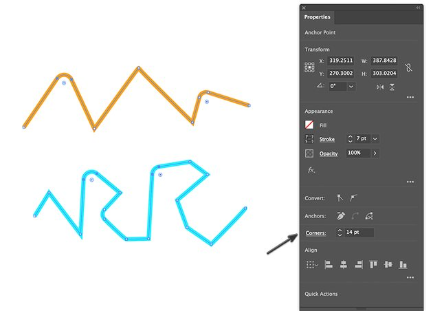 Edit the round corner radius thru the Transform. panel