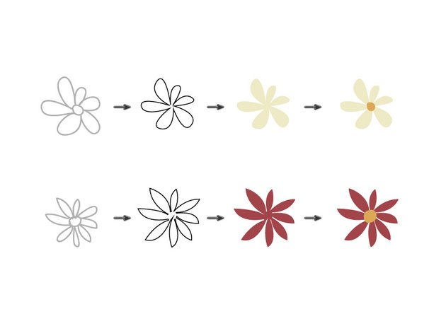 Use the Pen Tool to trace the flowers sketch and color them