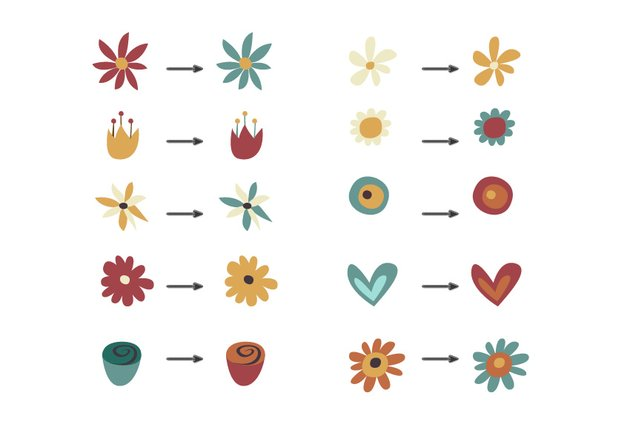 Duplicate the flowers and change their color