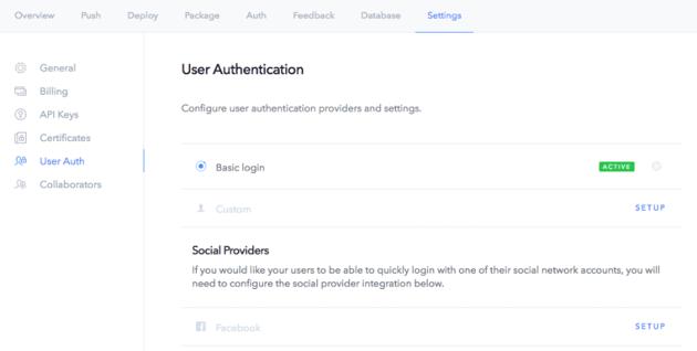 Ionic app settings social providers
