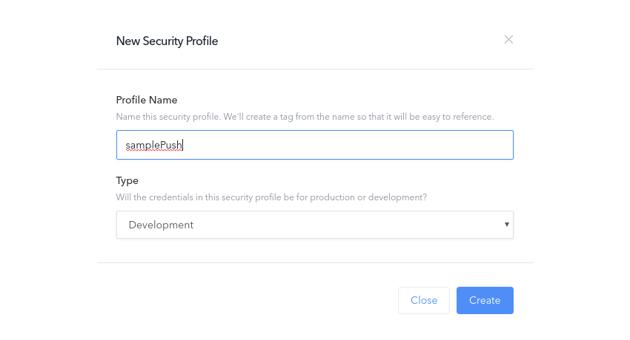 Create new security profile