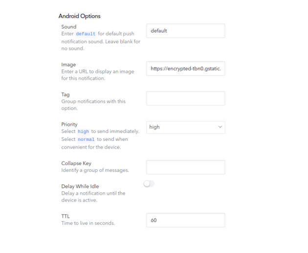 android push options