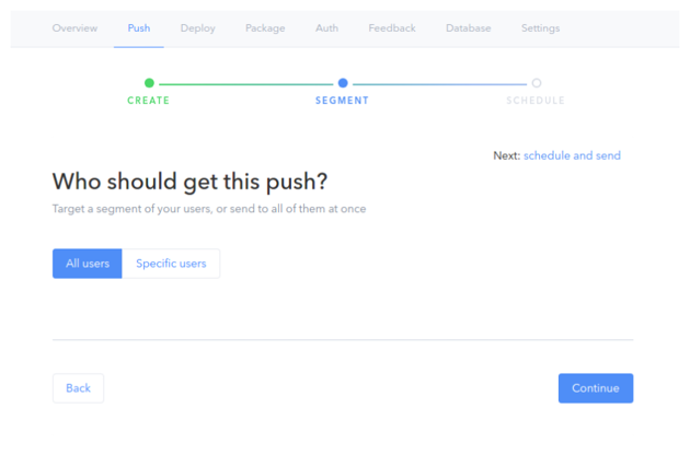 Select users to push to