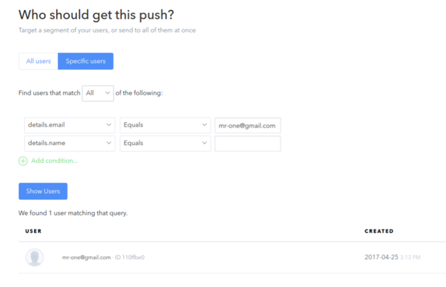 push to selected users