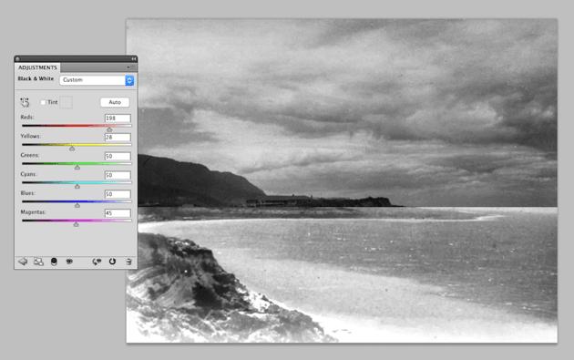 black and white photo adjustment
