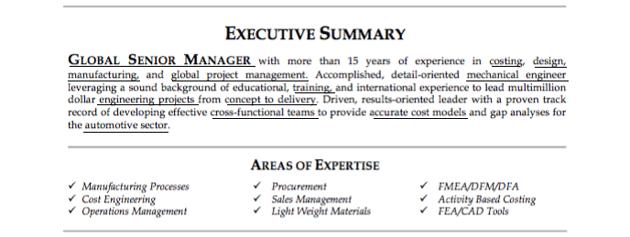 Resume executive summary example with keywords underlined
